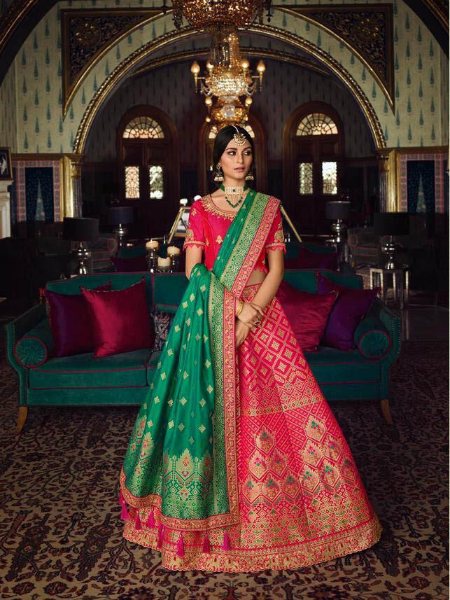 New Trend Designer Blue Color Kashmiri Silk Saree For Bride