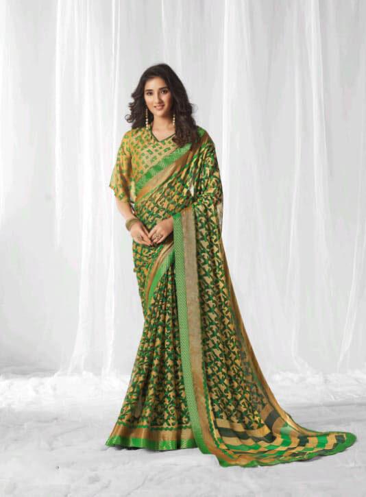 New Trend Green Color Designer Saree With Designer Blouse.