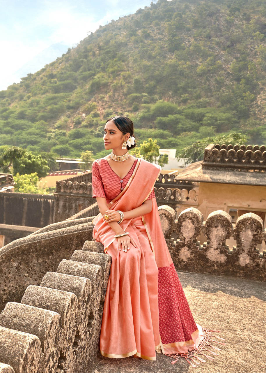 New Trending Latest Designer Orange Color Cotton Silk Saree