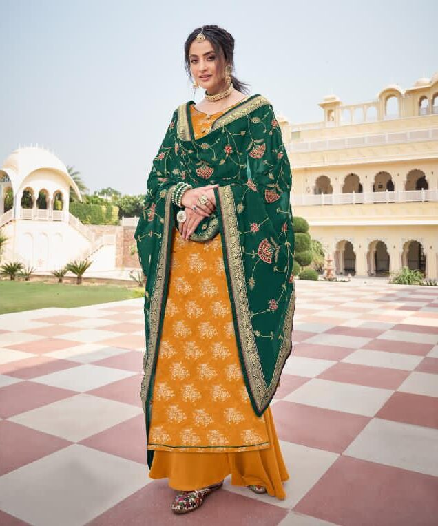 Yellow Heavy Punjabi Suits for Wedding with Green Dupatta