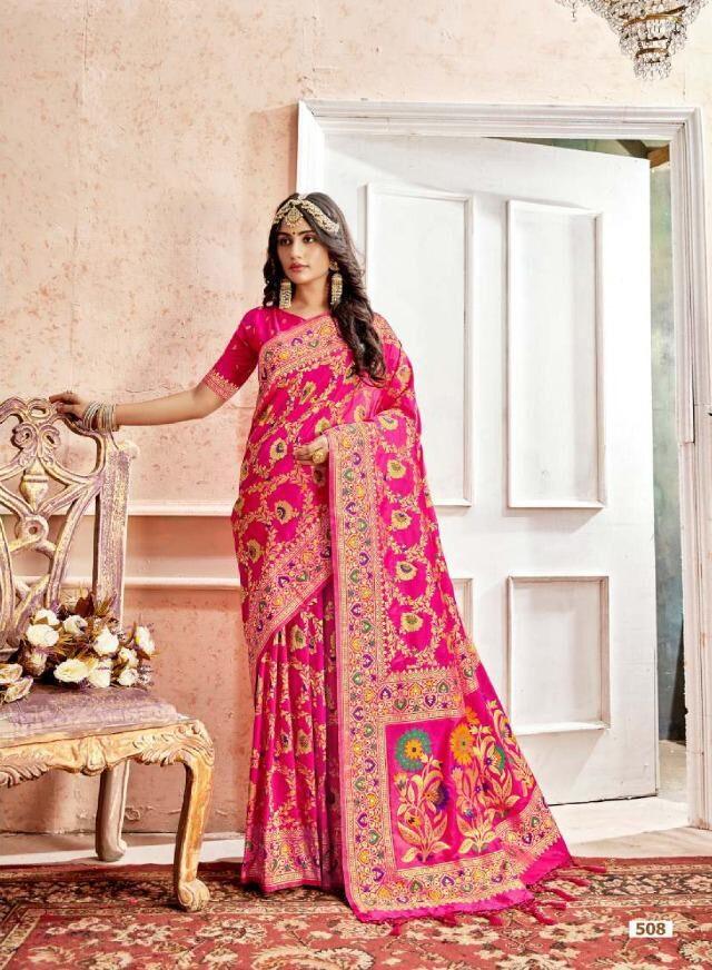 Best Designer Pink Color Heavy Work Designer Saree For Bride.