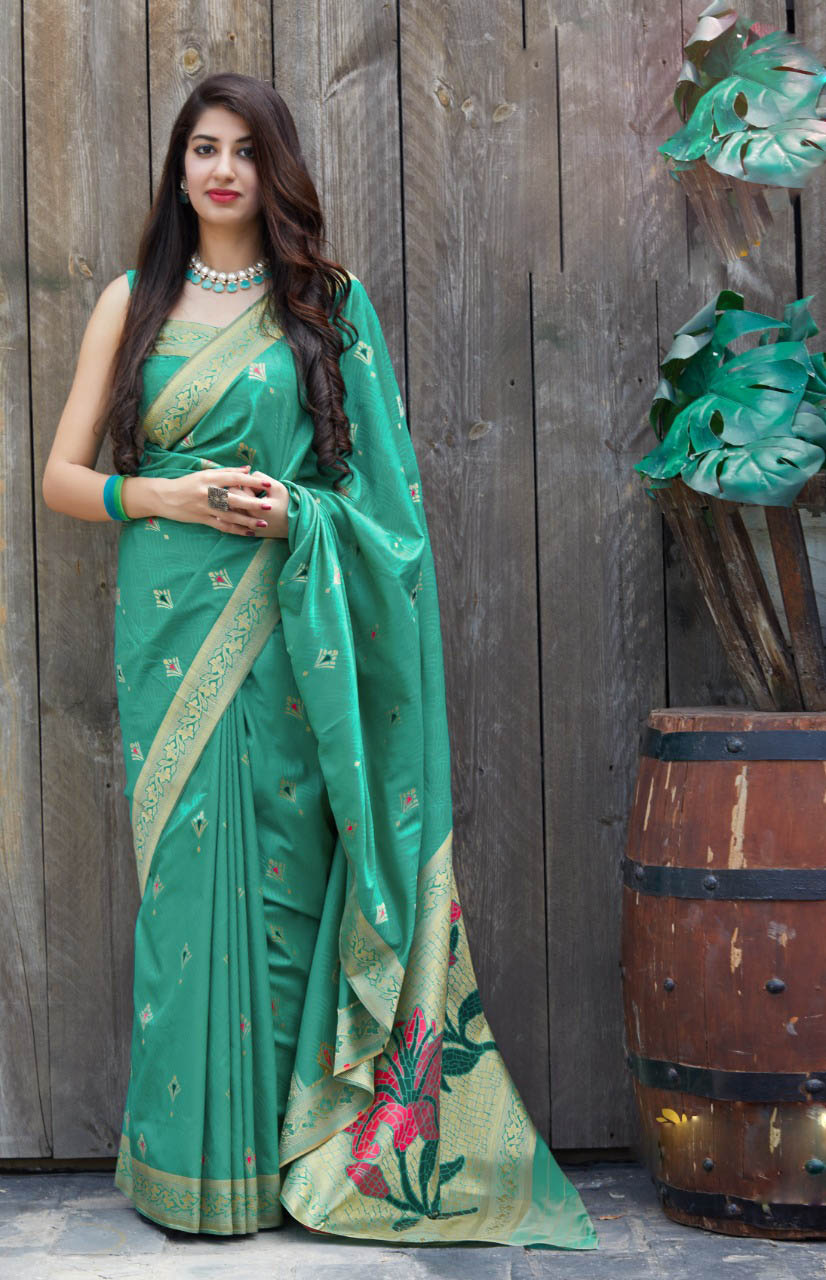 Best Designer Skyblue Color Silk Saree For Bride.