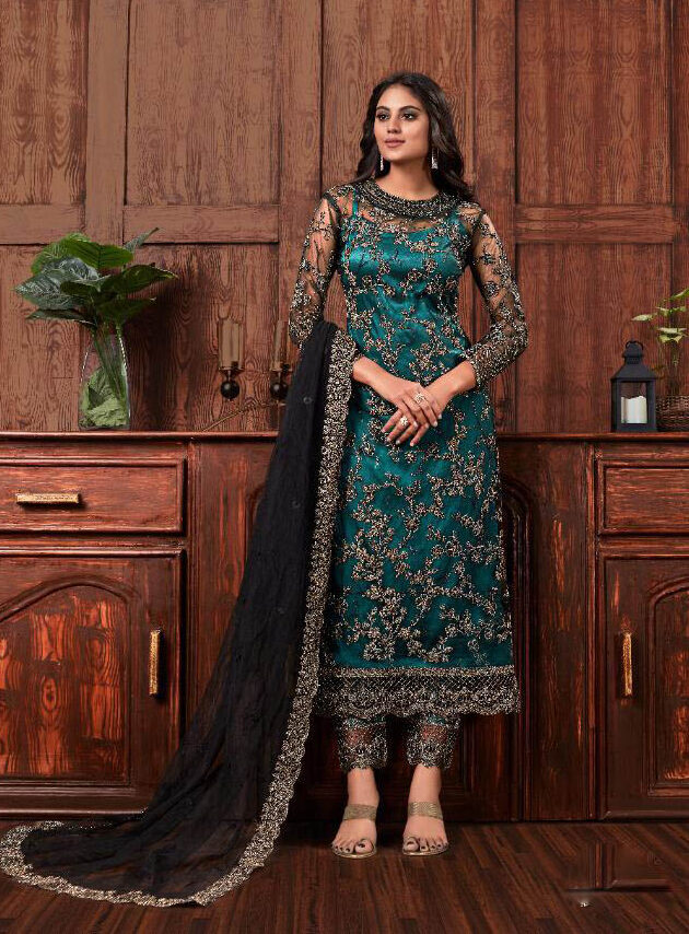 Best Embroidered Green Color pant palazzo with Suit.