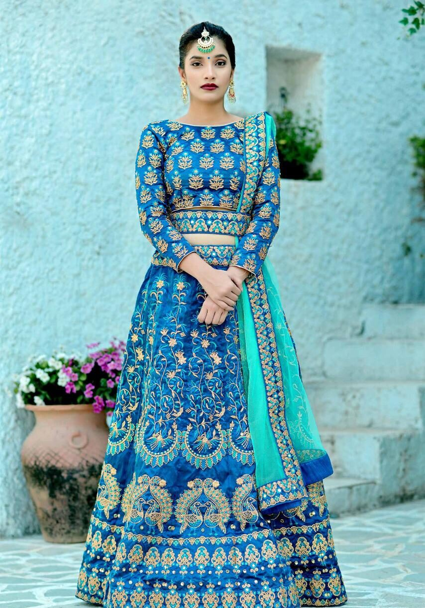Best Embroidered Skyblue Color Lehenga For Marriage Bride.
