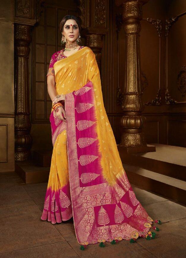 Best Trend Designer Light Yellow Mix Red Color Fancy Saree.