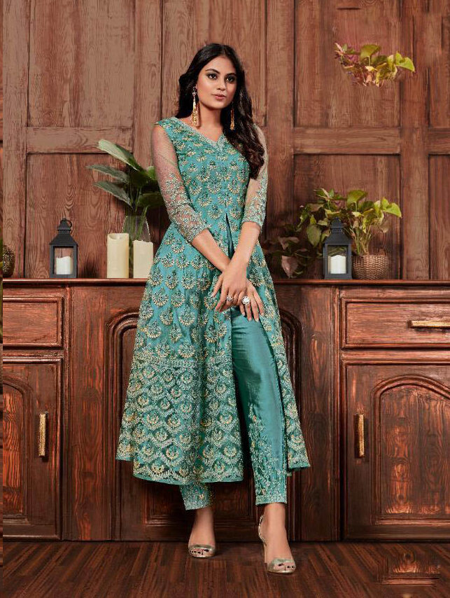 Cord Embroidery Work Sky Blue Color Suit With Net Dupatta.