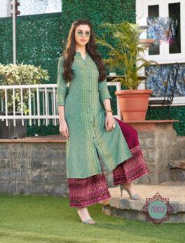 Daily Wear Readymade Designer Green Kurta for Palazzo Pants