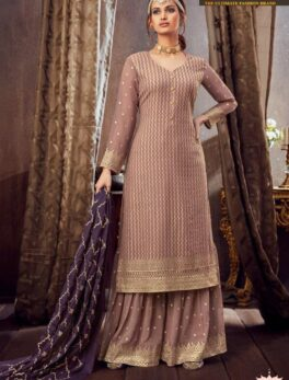 Designer Fully Embroidered Baby Pink Party Wear Palazzo Suits