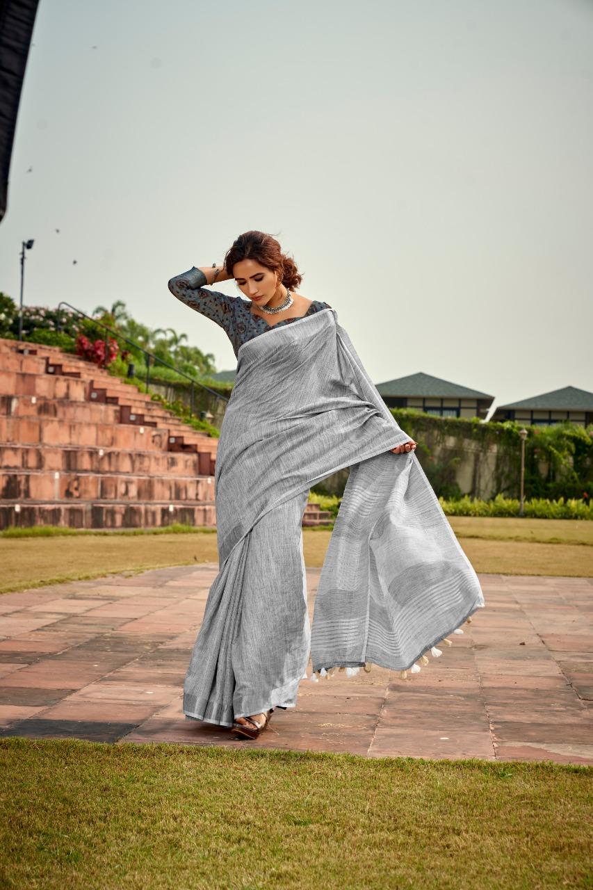 Designer Grey Colour with Designer Blouse Linen Saree Online