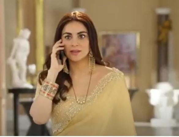 Kundali Bhagta Preeta Arora Saree in Olive Colour