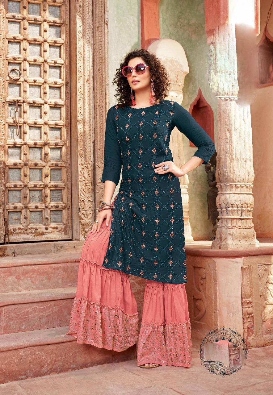 New Best Trend Designer Blue Color Sahara Suit Online Cost