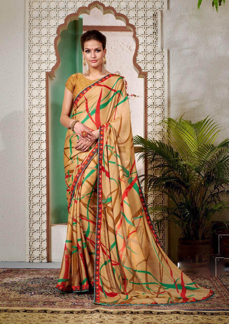 New Designer Light Cream Color floral printed pure georgette sarees