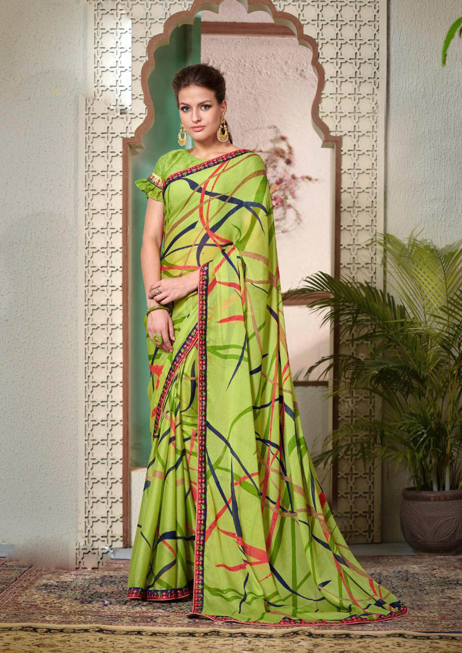 New Greeny Leaves Color floral printed pure georgette sarees