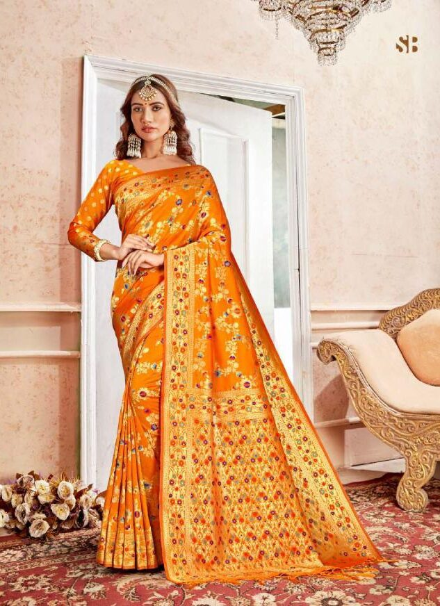 New Mode Inventer Turmeric Color Heavy Saree For Marriage