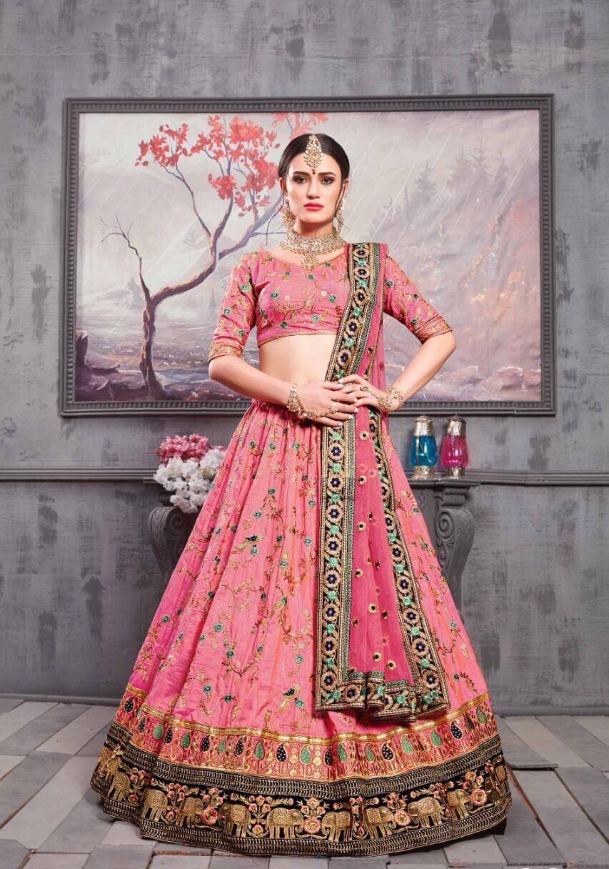 New Mode Maker Pink Color Designer Lehenga For Bride.