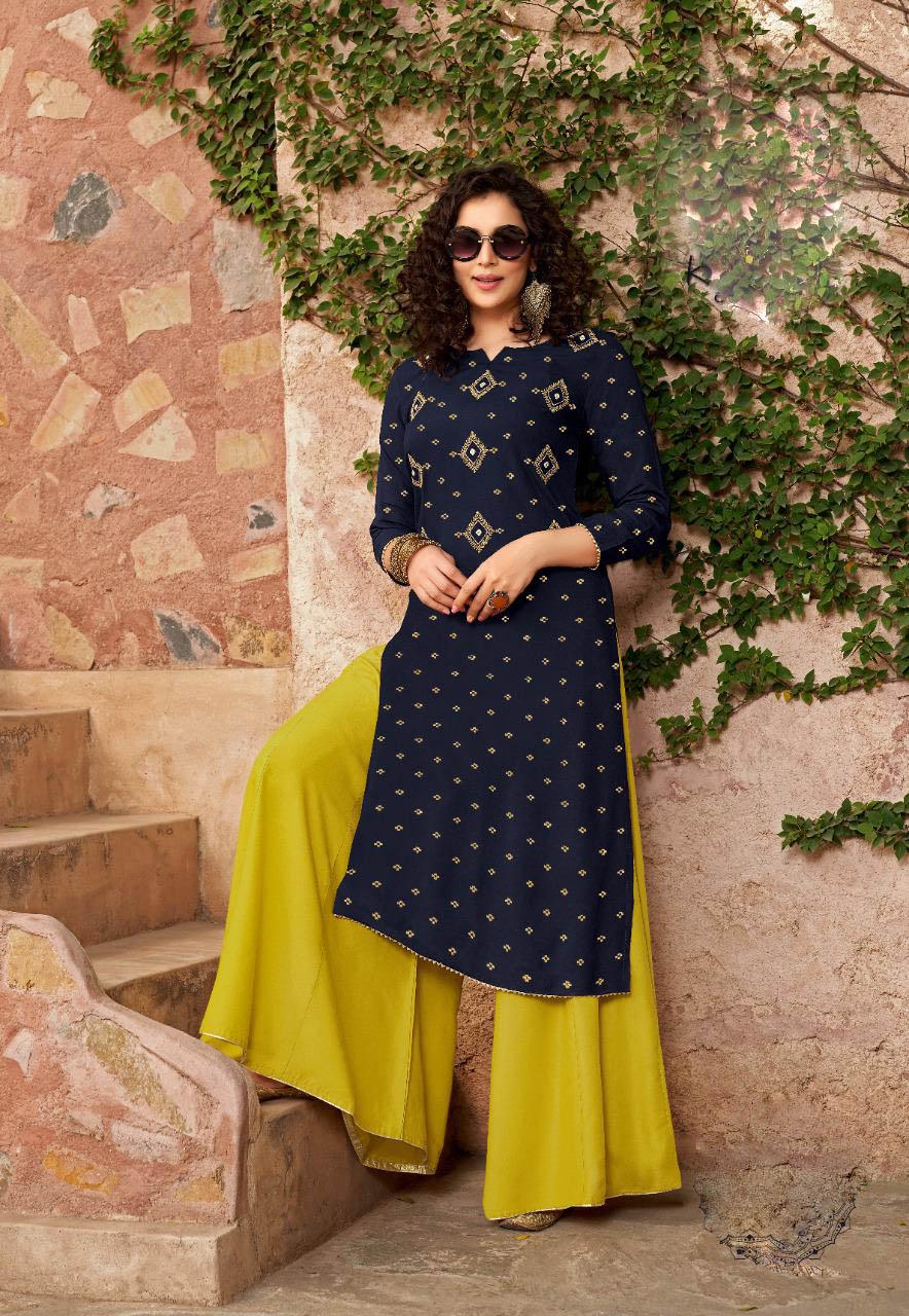 New Mode Trend Designer Blue Color Sahara Suit Online Cost.