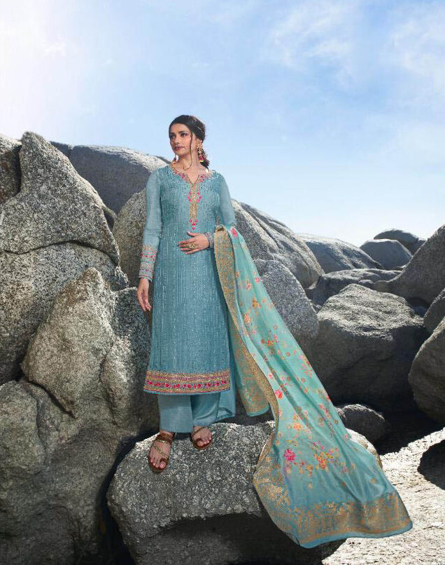New Trend Designer Light Blue Color Punjabi suits party wear