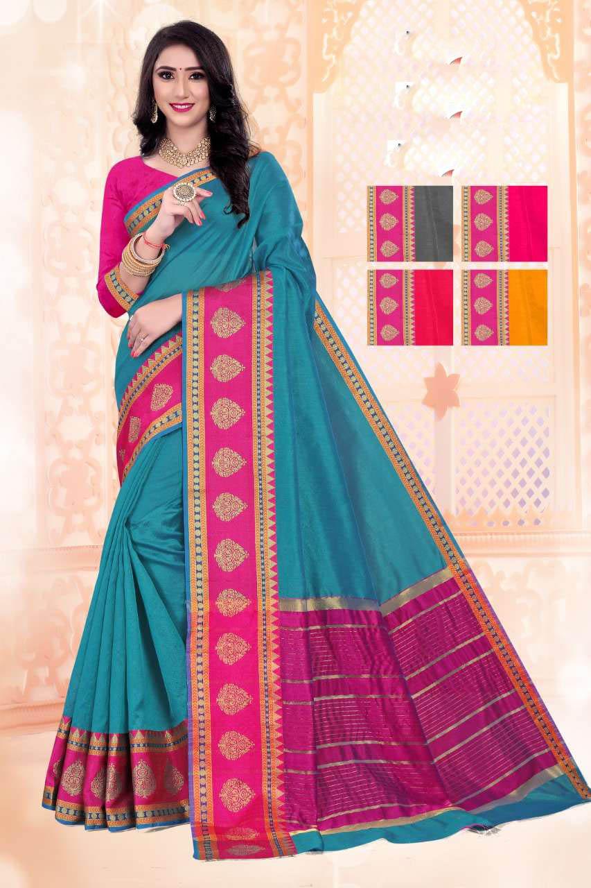 New Trend Designer SkyBlue Color Soft Silk Saree Under 1000.
