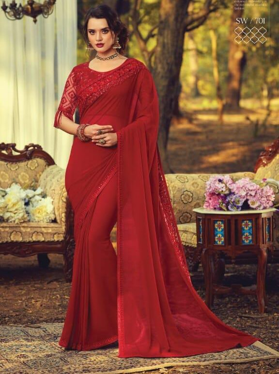 Red Colour Designer Sarees for Wedding Party Online