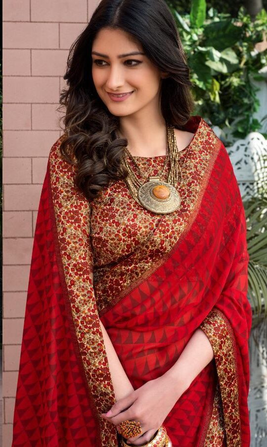 Red Colour Contrast Blouse Designer Daily Wear Saree Blouse Designs
