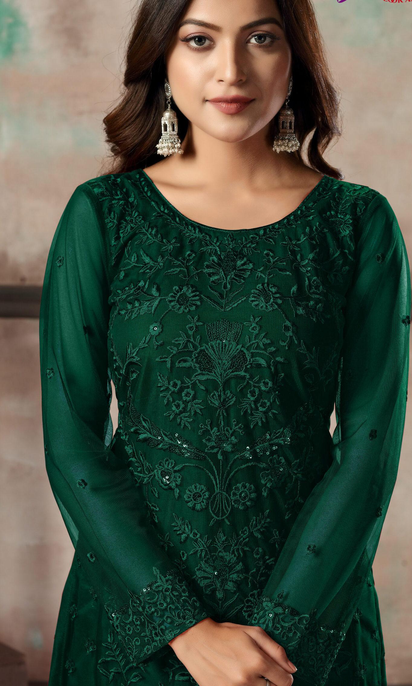 Designer Latest Green Salwar Suits in Net Fabric