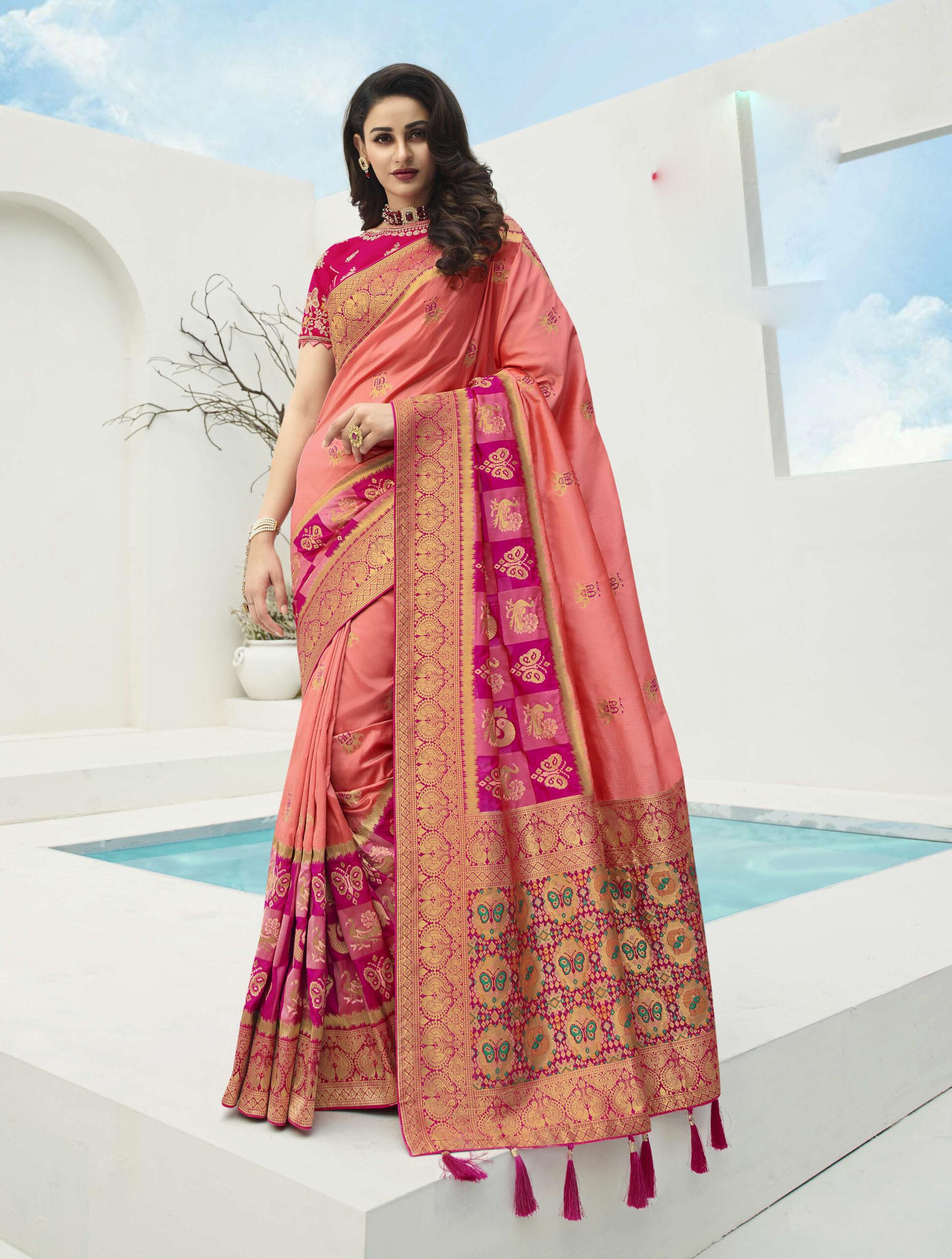 Designer Latest Baby Pink Kanjeevaram Saree