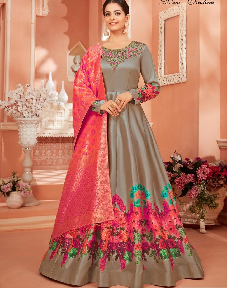 Gown for Women Party Wear with Banarsasi Dupatta in Pink