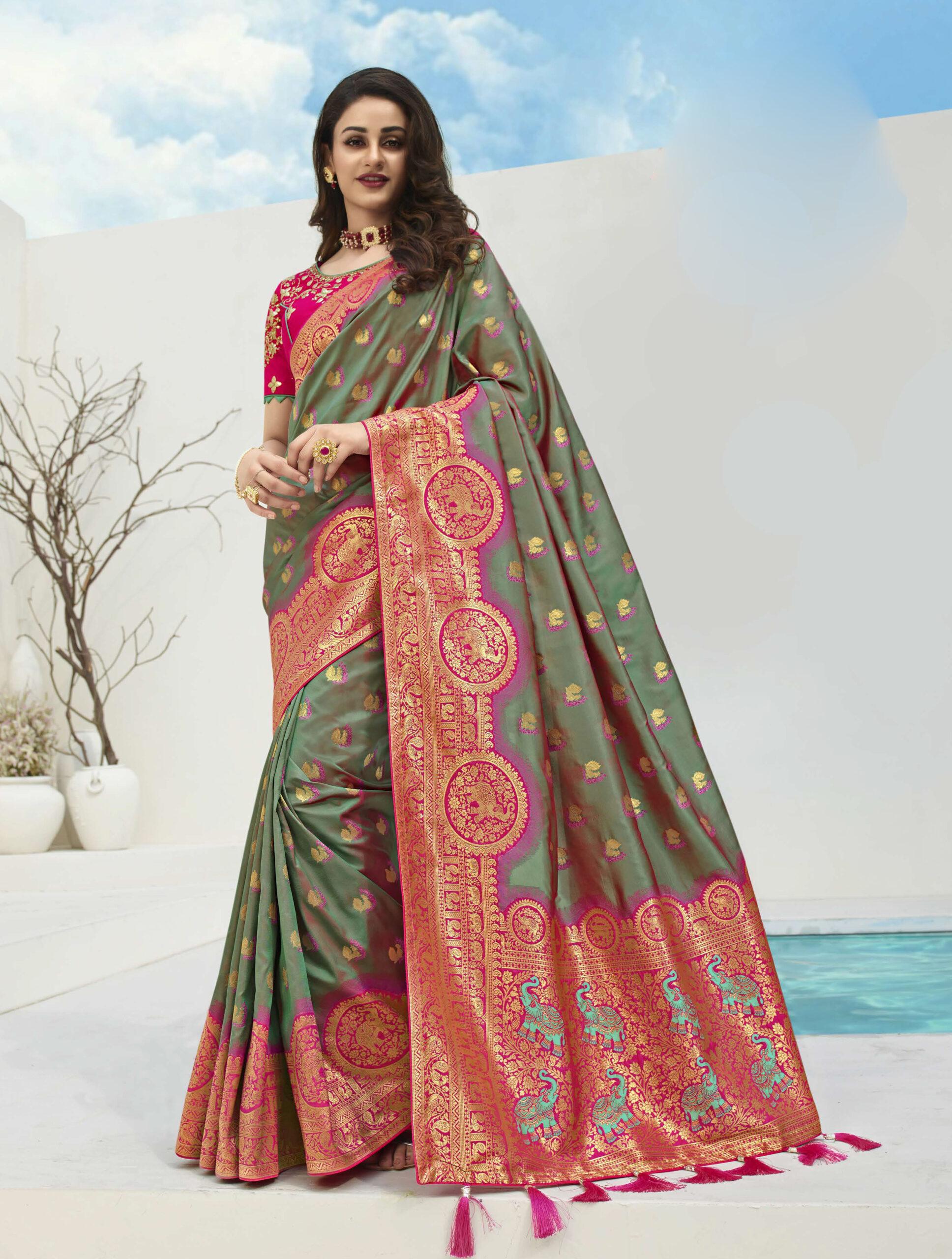 Green with Magenta Blouse Kuchu Saree For Wedding Function