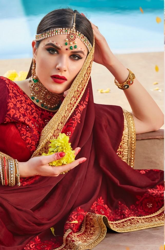 Heavy Designer Latest Wedding Sarees Collection in Red Colour