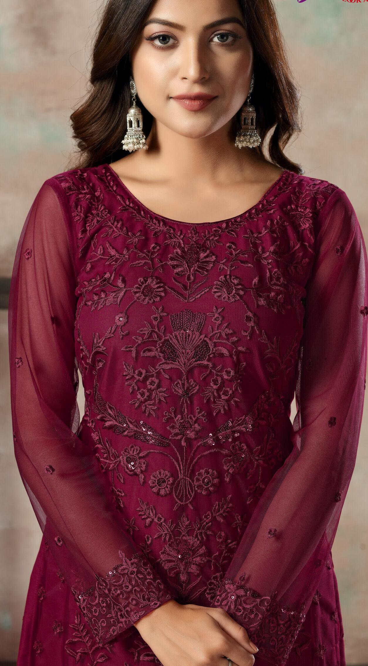 Net Salwar Suit Design with Dupatta in Maroon