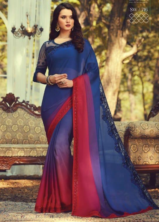 New Designer Blue Color Wedding Saree Online price.