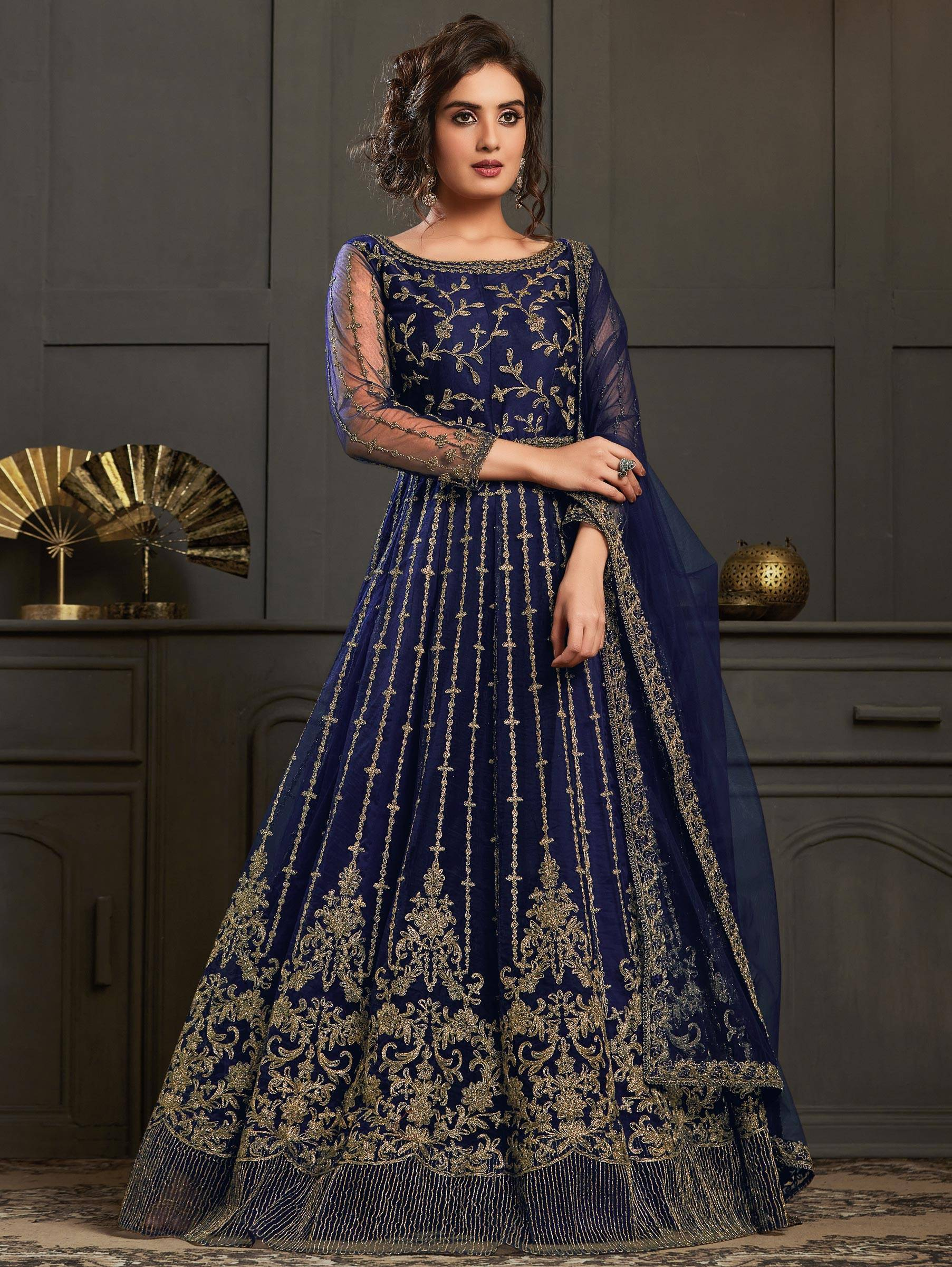 Party Wear Heavy Embroidered Navy Blue Anarkali Gown