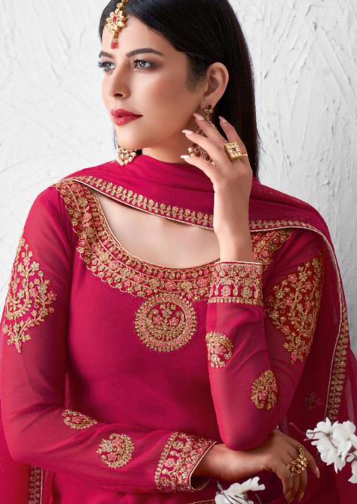 Rose Pink Heavy Embroidered Bridal Salwar Suits with Dupatta