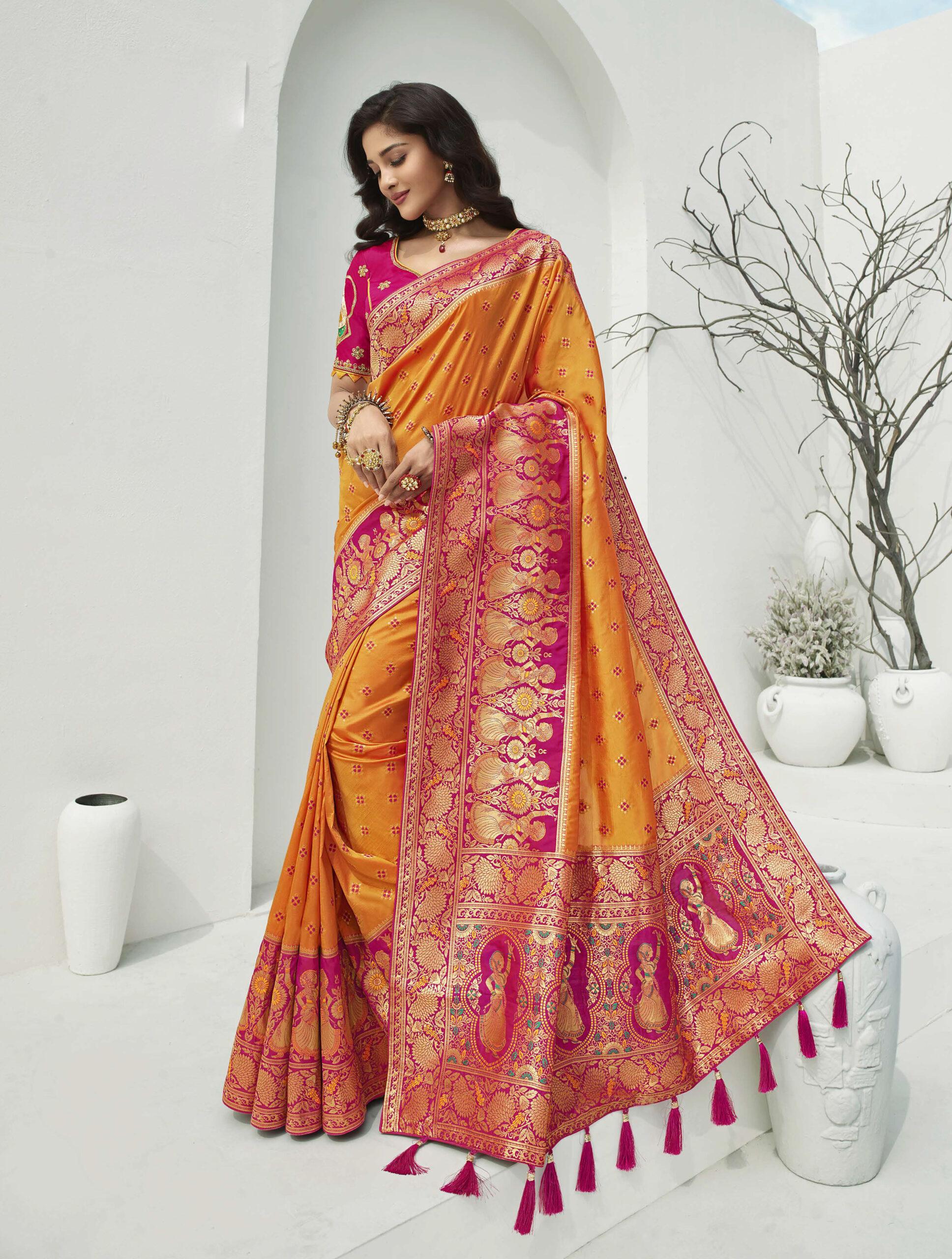Yellow with Magenta Combination Designer Saree for Wedding