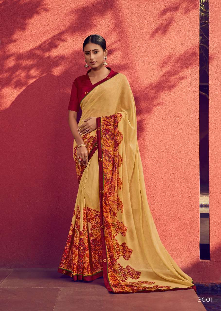 Yellow with Plum Designer Printed Georgette Saree for Daily Use