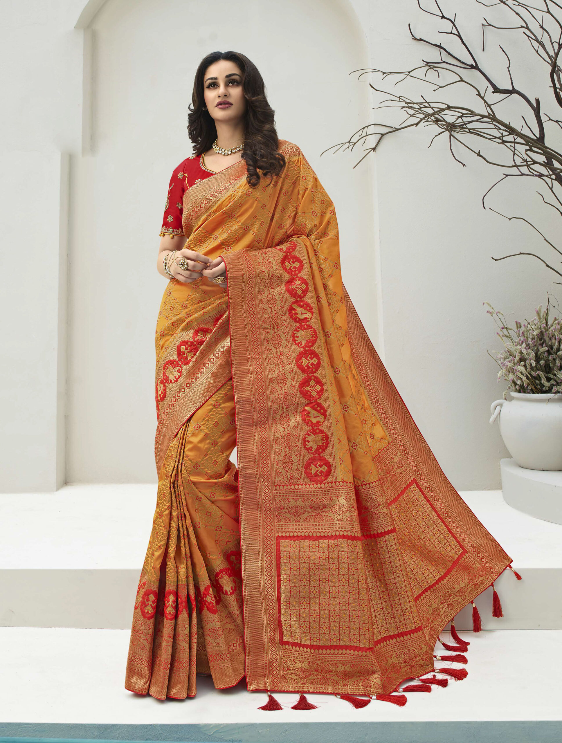 Yellow with Red Combination New Saree Design 2021 for Wedding