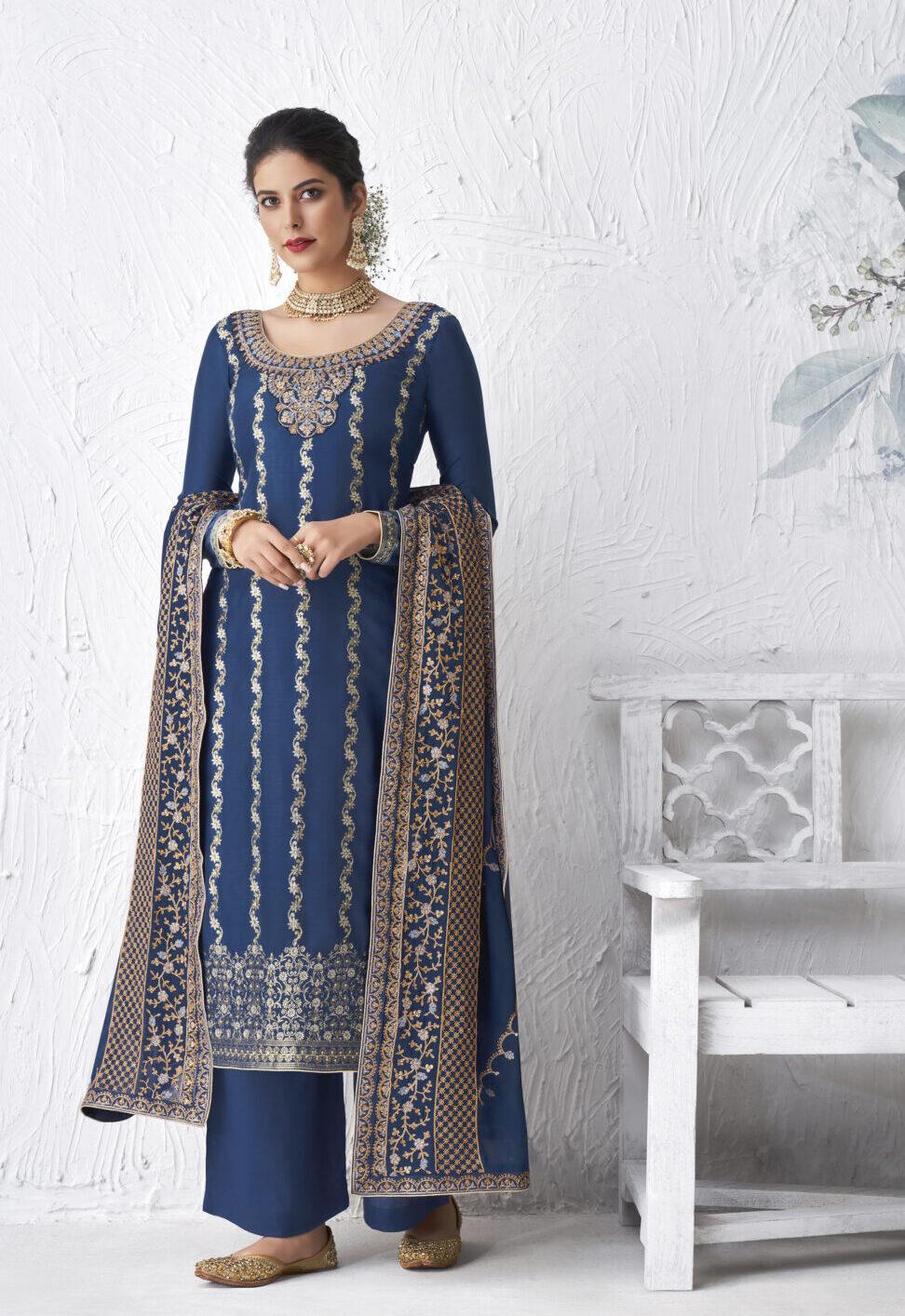 Navy Blue Bridal Punjabi Suit with Price
