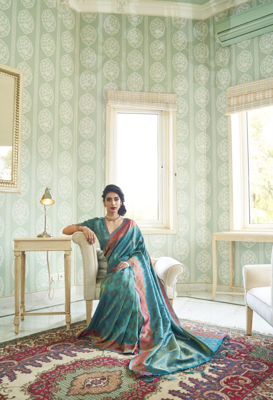 Best Trendy Sky-Blue Color Silk Saree Simple Blouse Design