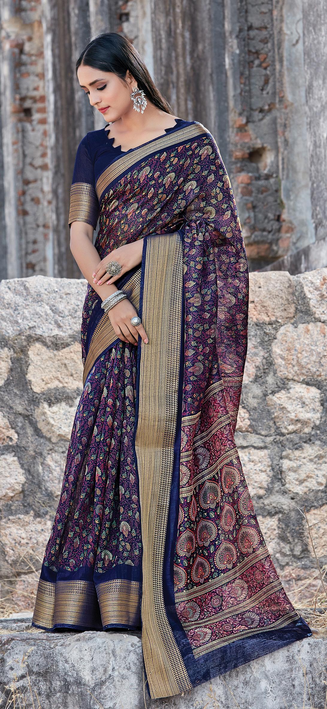 New trend Designer Blue Color Cotton Saree Blouse Pattern