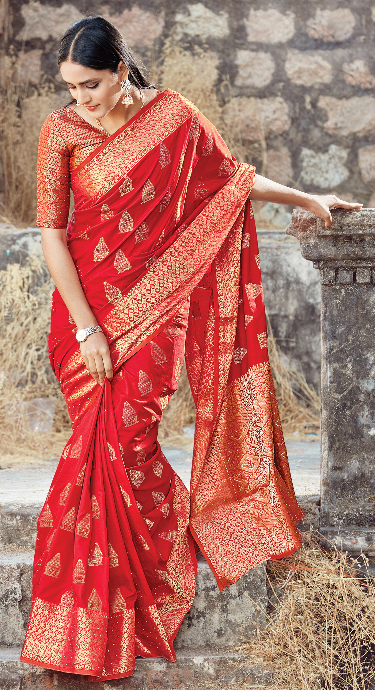 New Embroidery Work Tomato Red Color Latest Silk Saree Collection