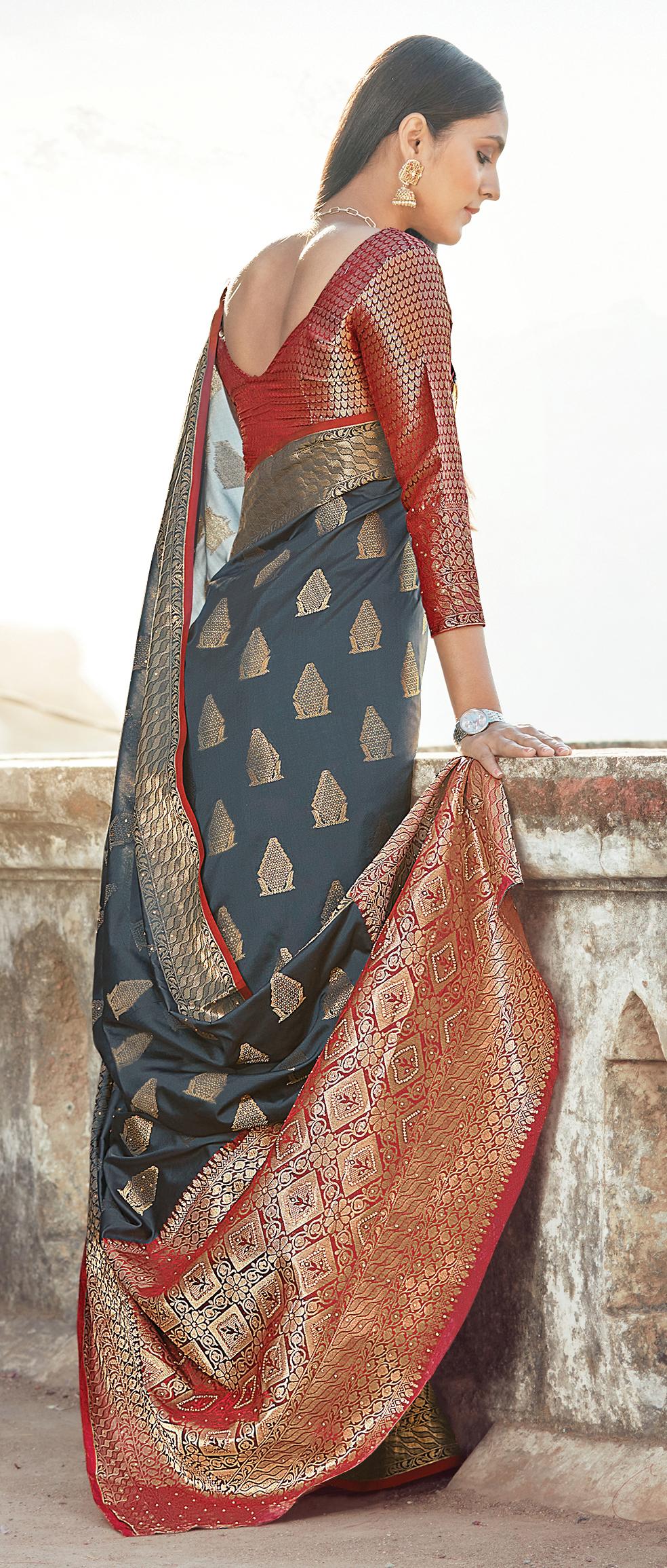 Best Embroidery Work Grey Color Latest Silk Saree Blouse Design.