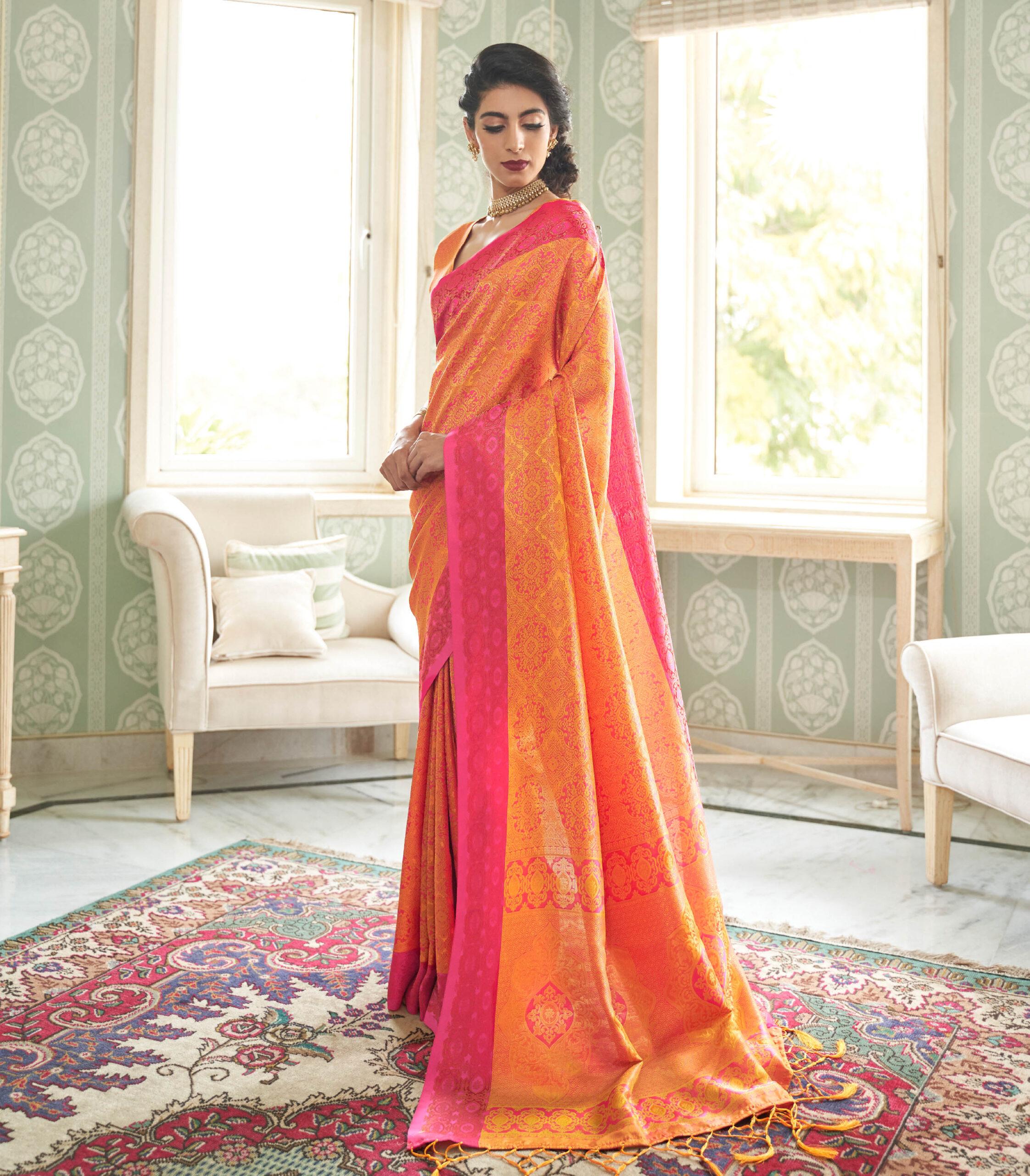 Best Trend Designer Orange Color Silk Saree Online India