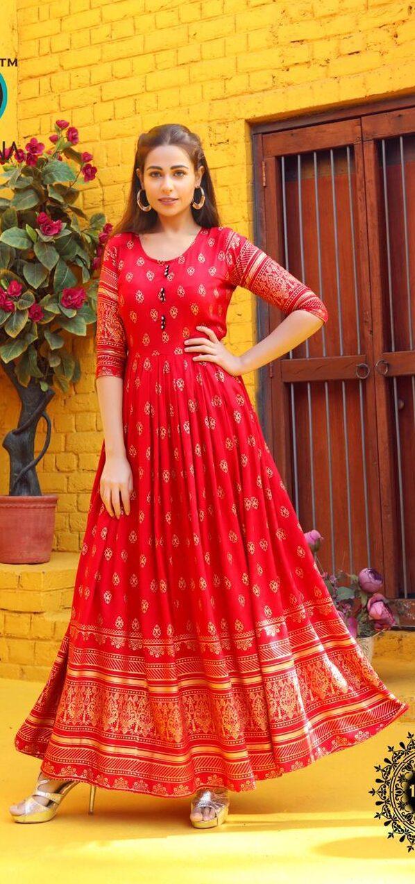 Best Designer Red Color Anarkali Kurti For Women.