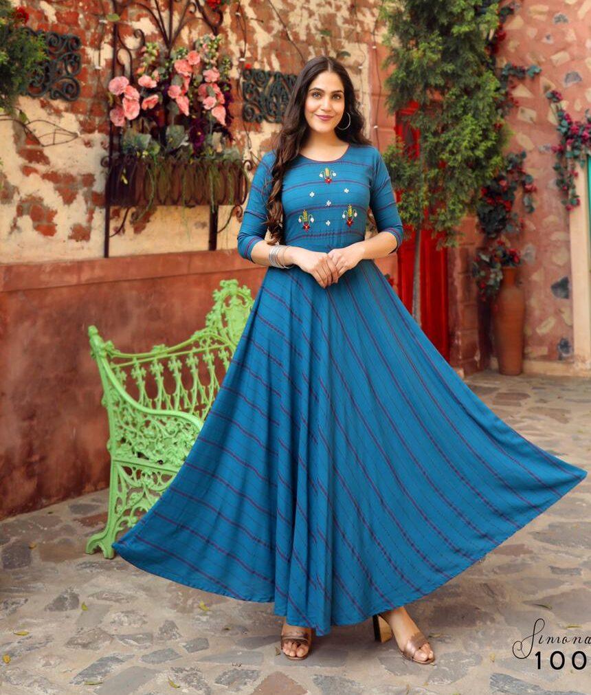 Best Mode Maker Sky-Blue Color Long Anarkali Kurti Online.