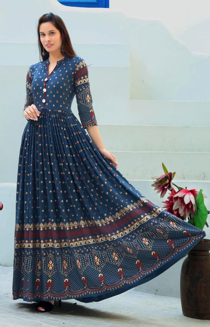 Best Readymade Blue Color Long Anarkali Kurti For Bride.