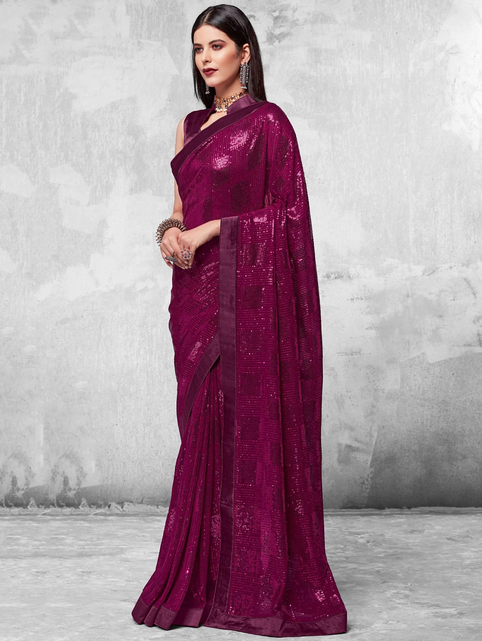 Best Sequins Worked Purple Color Partywear Saree In Summer.