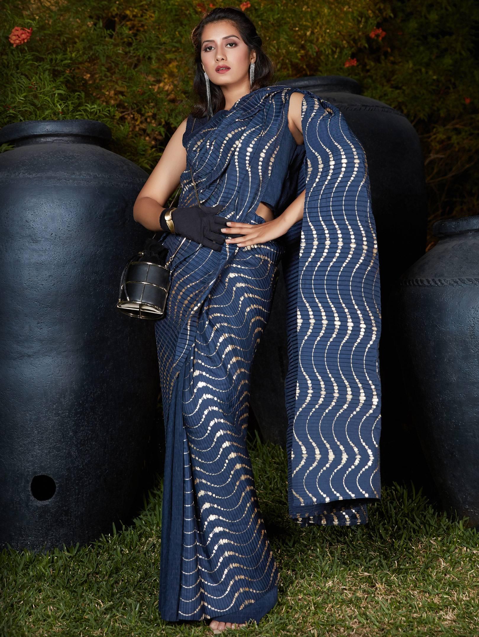 Best Trend Blue Color Foil Printed Fancy Silk Saree.