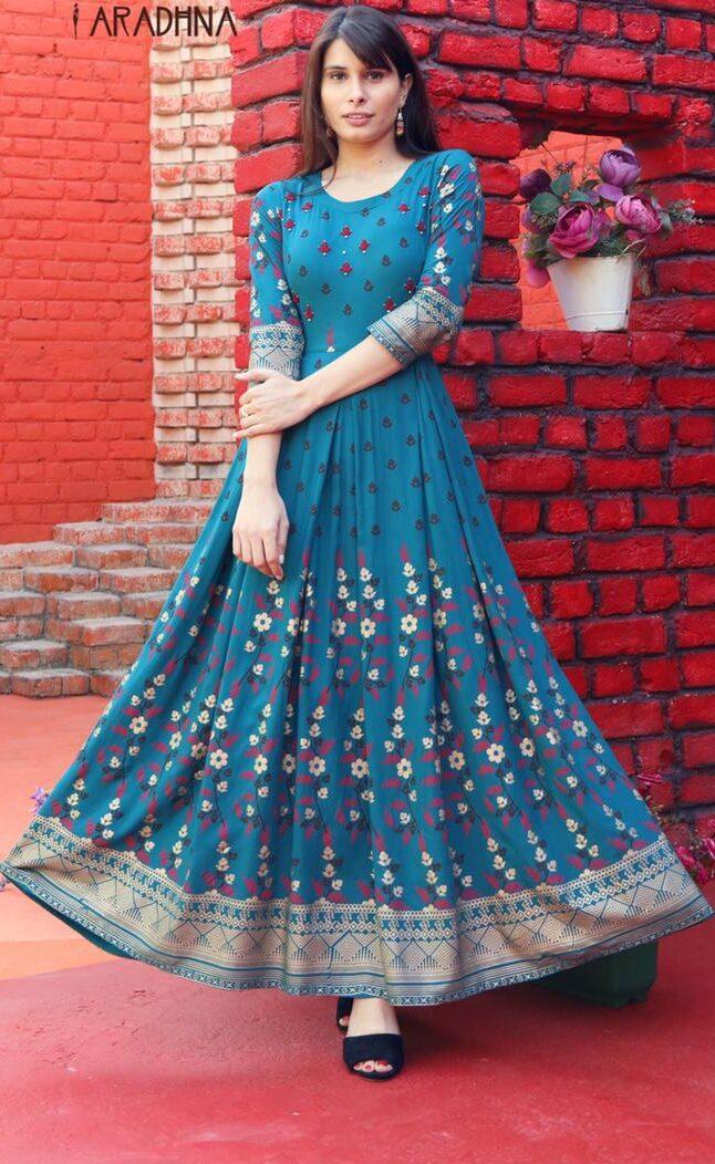 Best Trend Designer SkyBlue Color Anarkali Long Kurti.