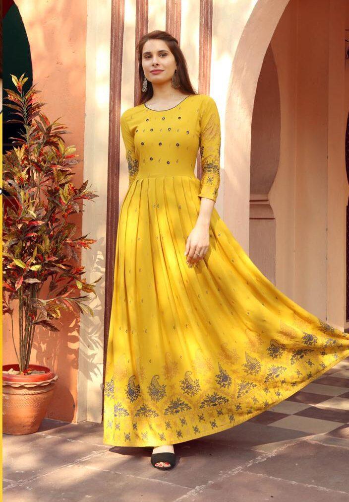 Best Trend Designer Yellow Color Long Kurti For Ladies.