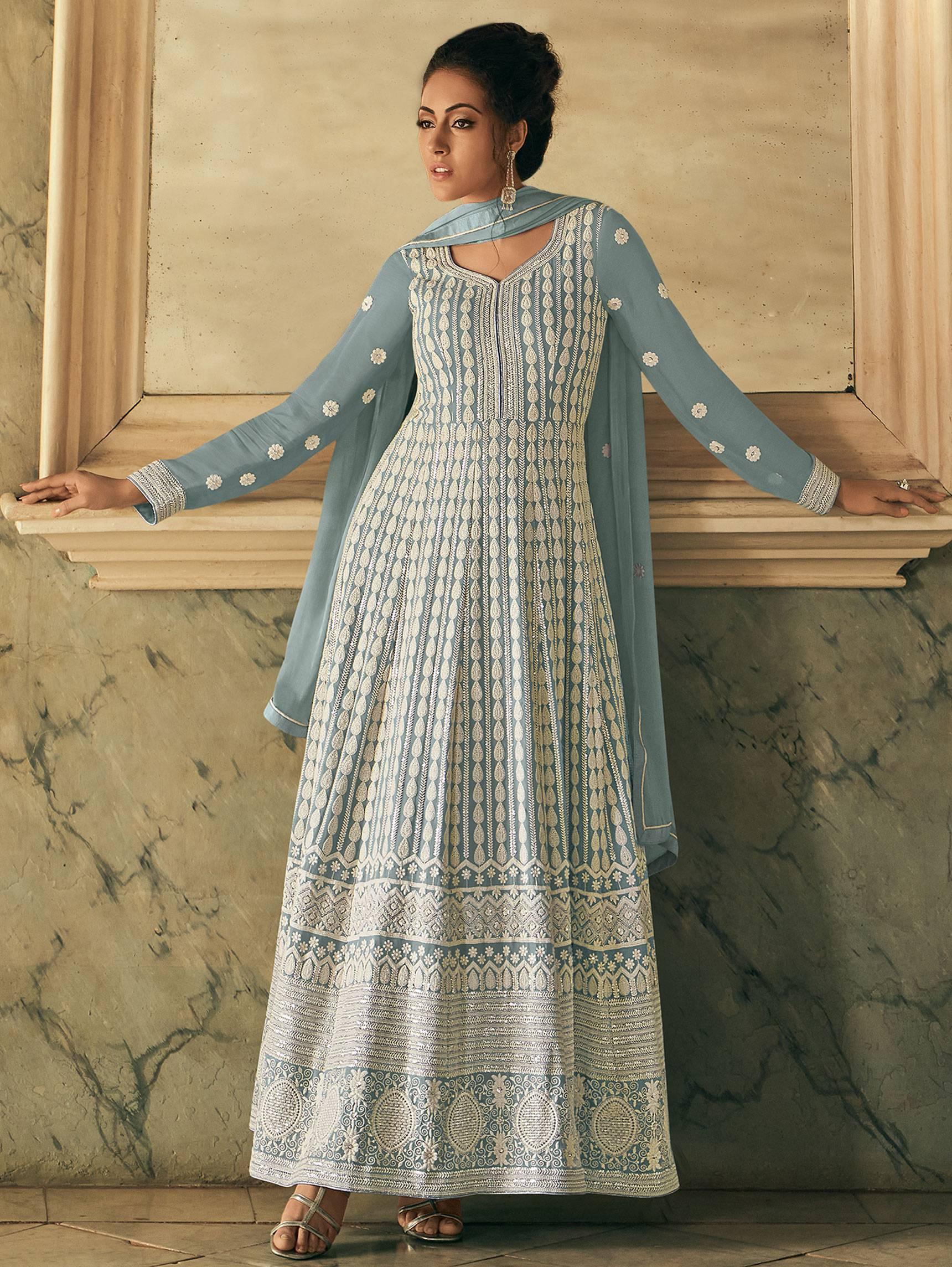 Best trend Designer Light Grey Color Anarkali Suits With Pant